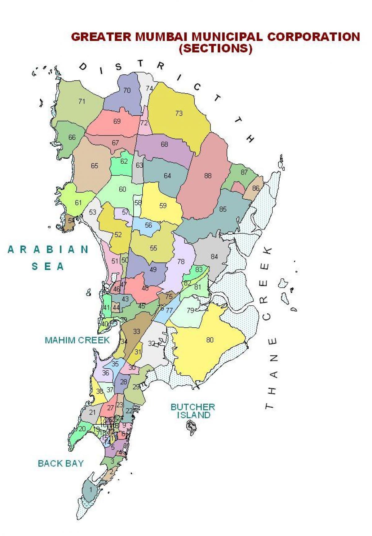 India Politica Cartina.Mumbai Mappa Politica Cartina Politica Di Mumbai Maharashtra India